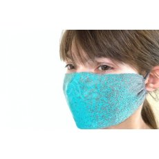Maseczka wielokrotna profilowana tkana z bawełny 100% wzór PIXLE TURKUSOWE
